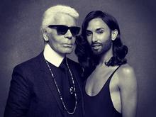 Conchita+Wurst%3A+le+foto+in+lingerie+insieme+a+Karl+Lagerfeld