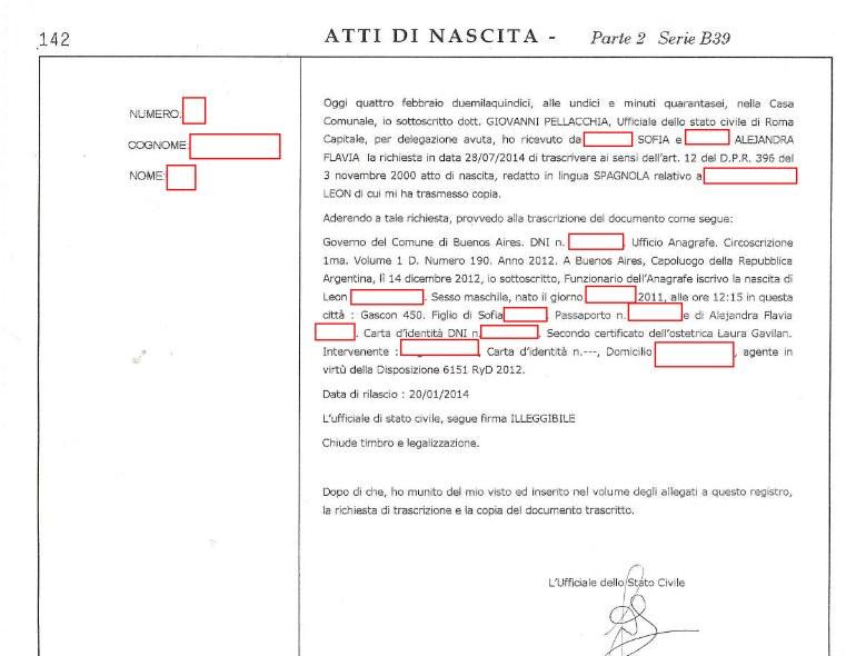 L'atto di nascita trascritto a Roma
