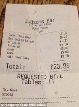Lo scontrino del bar Judsons di York