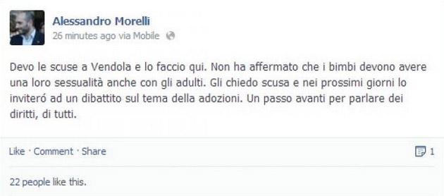Le scuse si Alessandro Morelli su Facebook