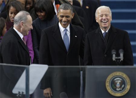 Barack Obama durante la cerimonia di insediamento