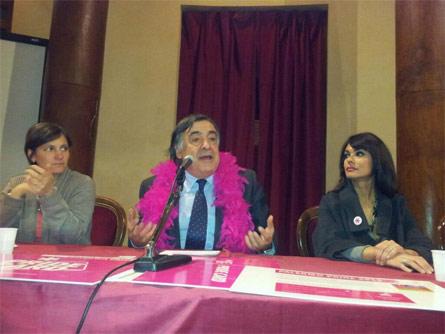 Il sindaco Leoluca Orlando alla conferenza stampa di presentazione del Pride