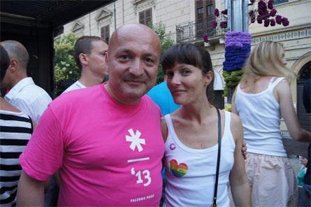 Flavio Romani con Victoria Cabello al Palermo Pride 2013