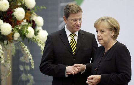 Guido Westerwelle con Angela Merkel
