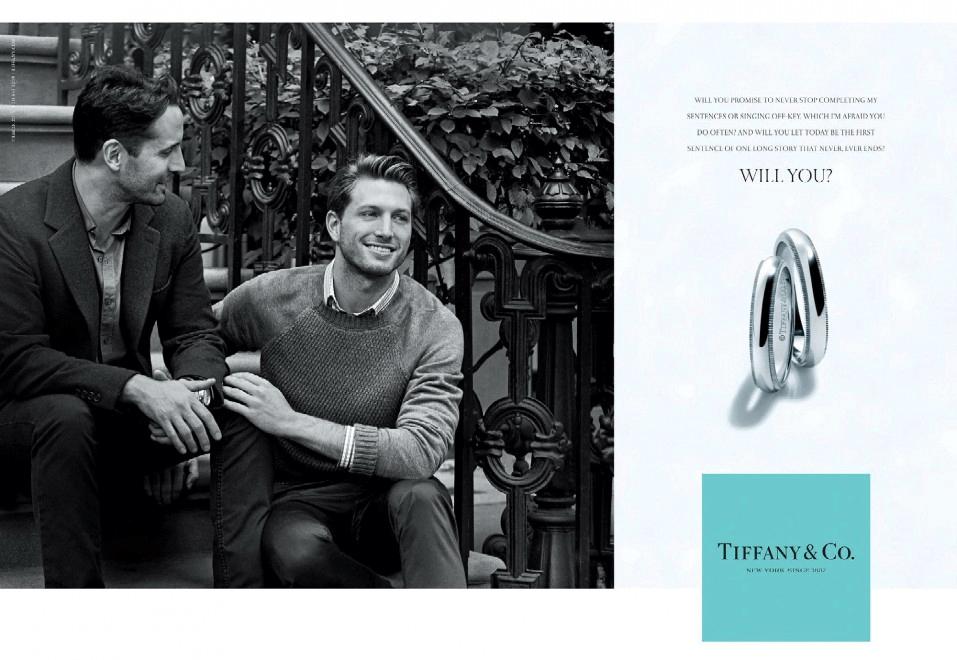 La promessa d'amore eterno, gay, nella pubblicità di Tiffany