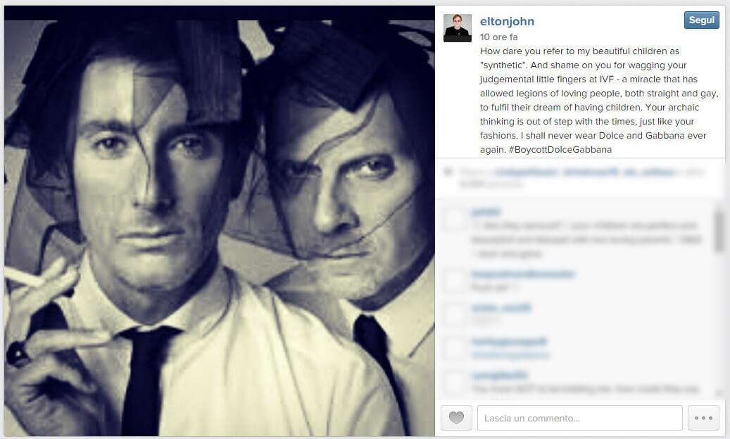 #BoycottDolceGabbana: Elton John contro Dolce & Gabbana