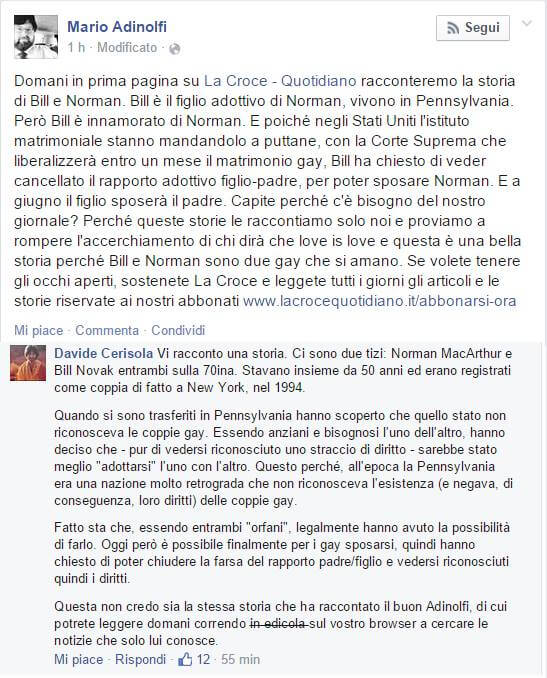 Adinolfi la spara grossa contro i gay ma viene sbugiardato su Facebook
