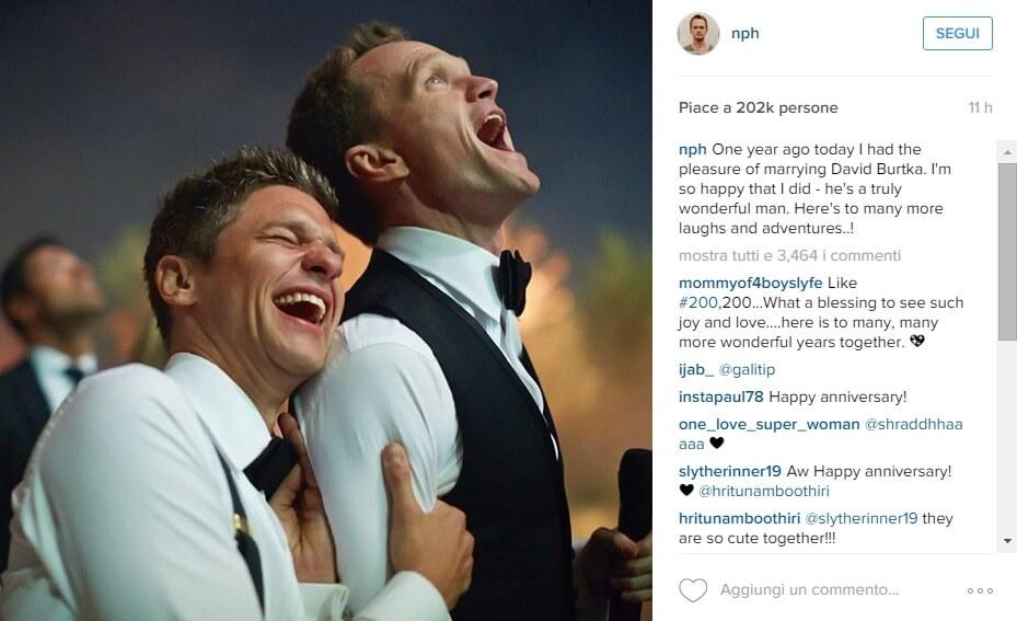 Neil Patrick Harris celebra l'anniversario di matrimonio su Instagram
