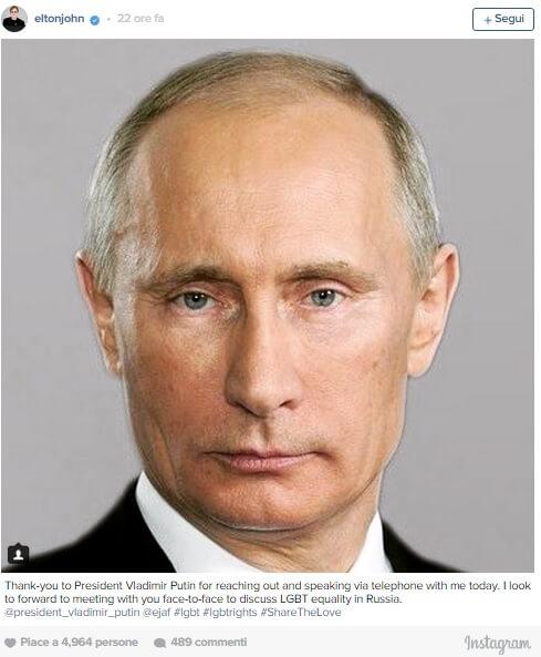 Il presidente Putin ha contattato telefonicamente Elton John