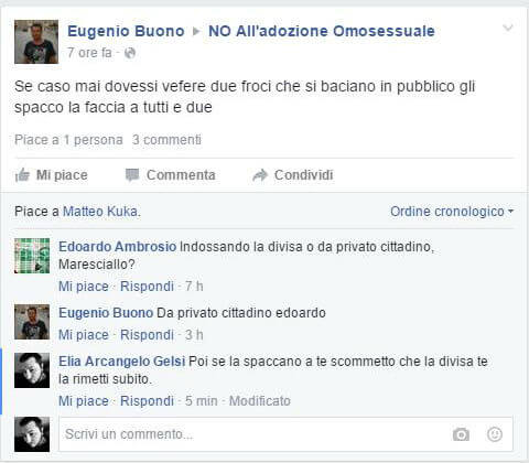 Maresciallo su FB: