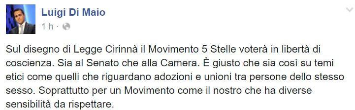 Luigi Di Maio su stepchild: prima ni, poi sì, poi no, poi boh