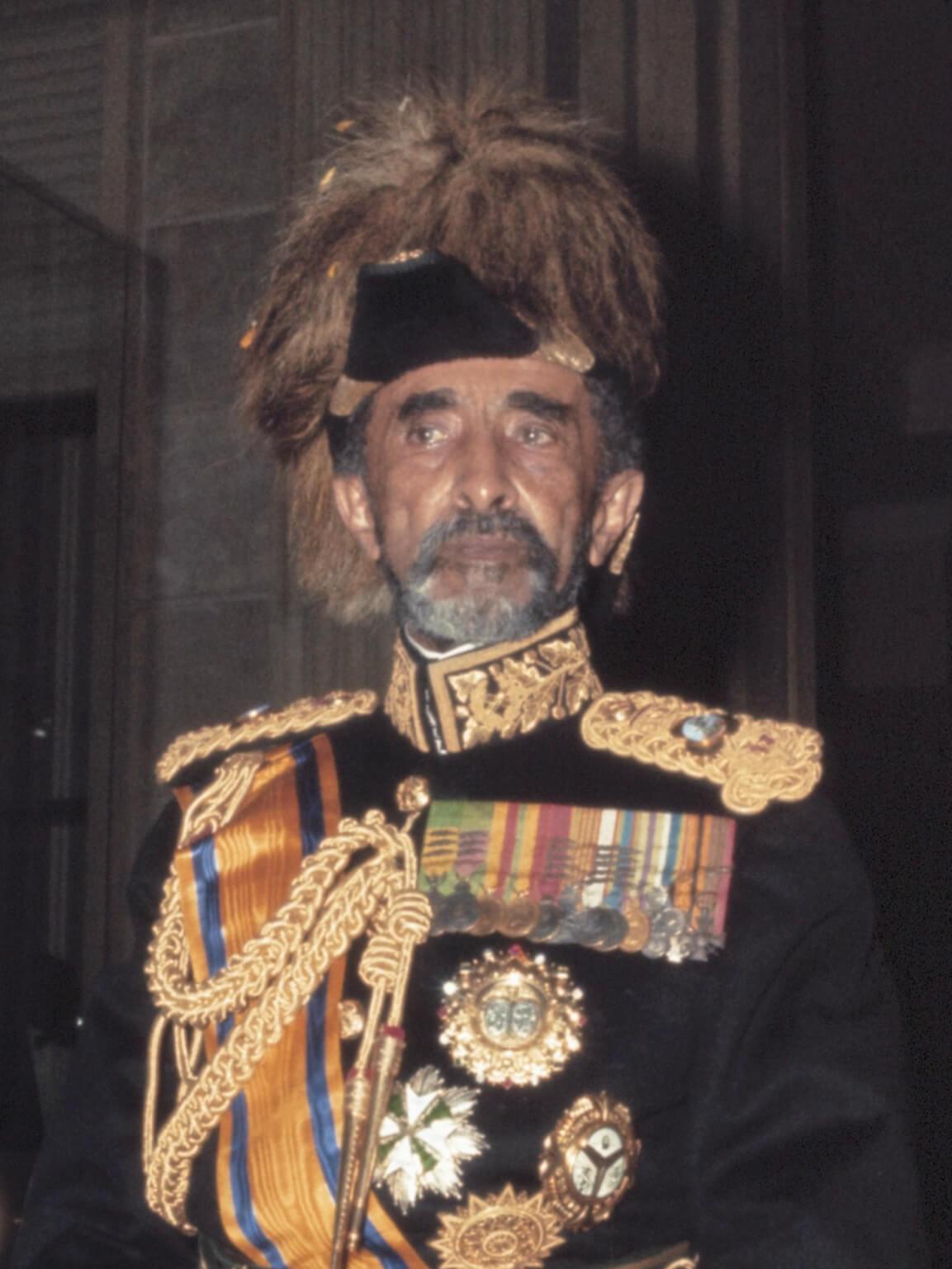 Haile Selassie tijdens staatsbezoek *januari 1969