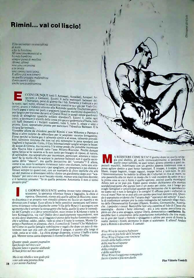 """Rimini...vai col liscio!"", di Pier Vittorio tondelli, su ""Babilonia"" n. 6, 1983."