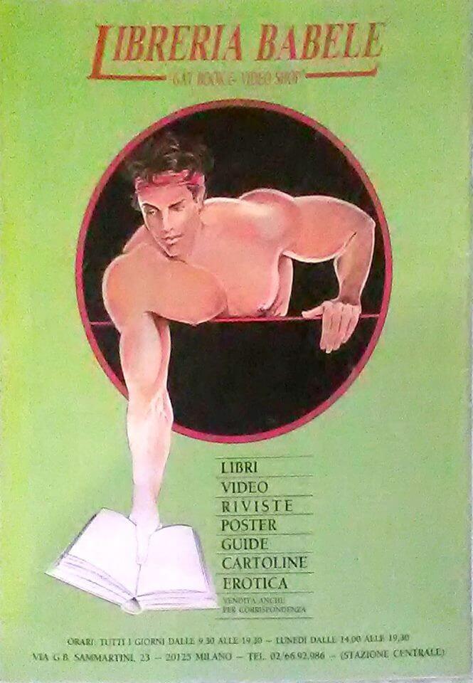 Pubblicità della libreria Babele di via Sammartini, la prima libreria LGBT italiana, aperta nel 1987 da Felix Cossolo.