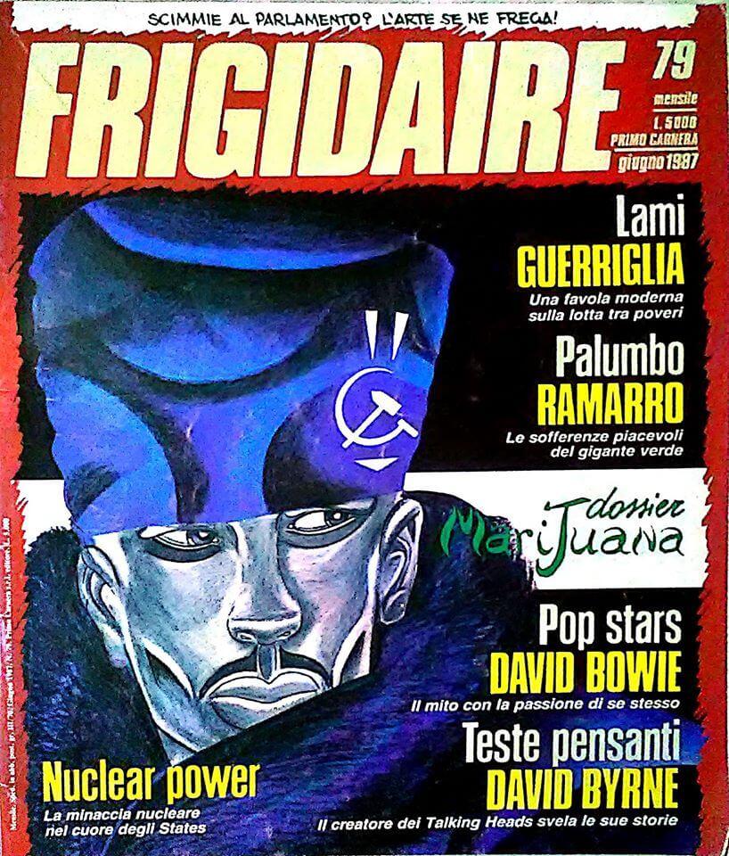 """""""Frigidaire"""", numero 79, giugno 1987. Una delle riviste italiane più attente alle novità culturali e artistiche, e a quanto """"bollisse in pentola"""" in ambito LGBT."""