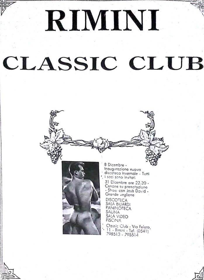 Pubblicità del Classic club di Rimini, discoteca gay aperta il 5 dicembre 1987.