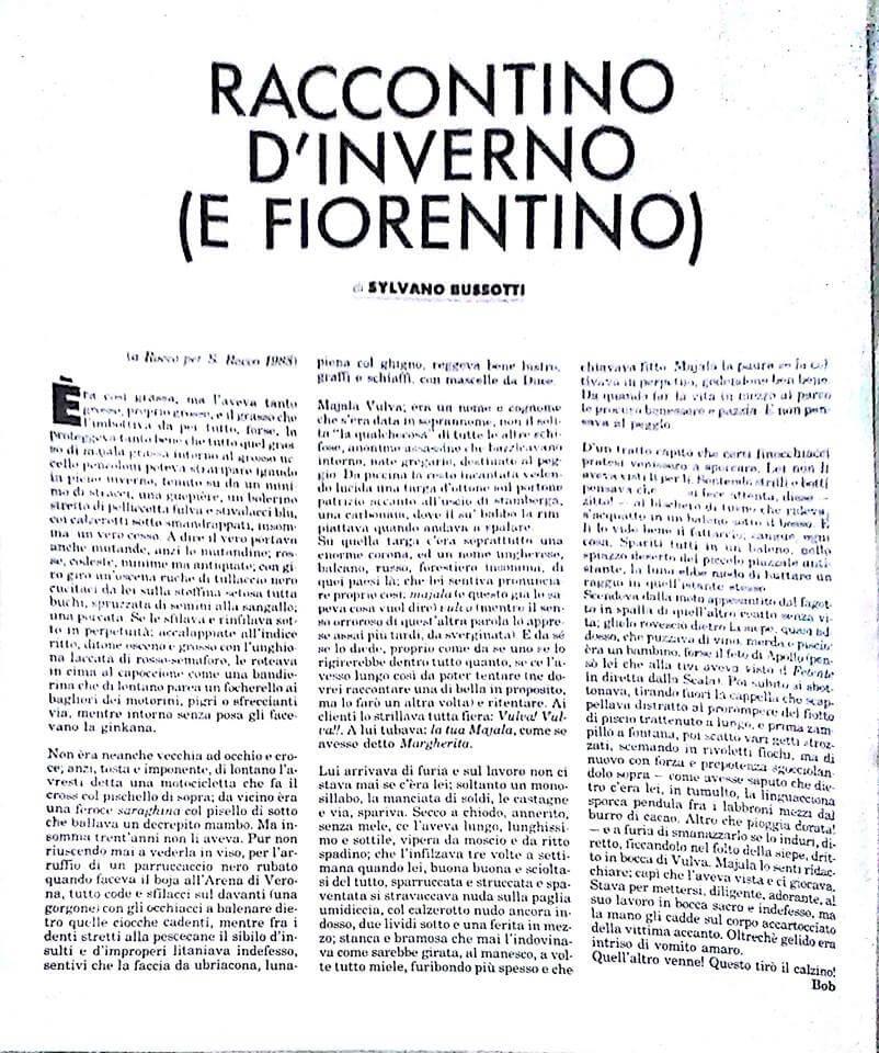 """Raccontino irriverente di Sylvano Bussotti, per """"Babilonia"""", numero 62, dicembre 1988."""