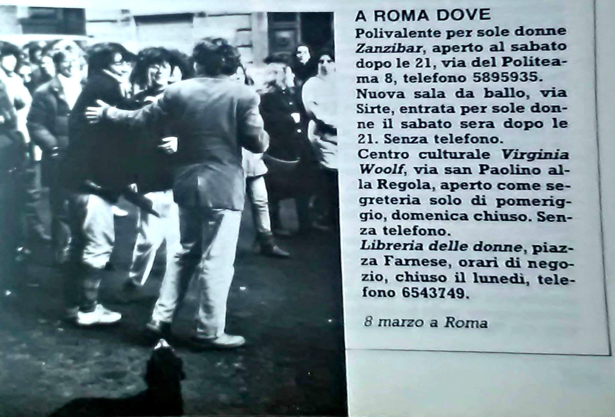Luoghi d'incontro per sole donne a Roma nel 1984.