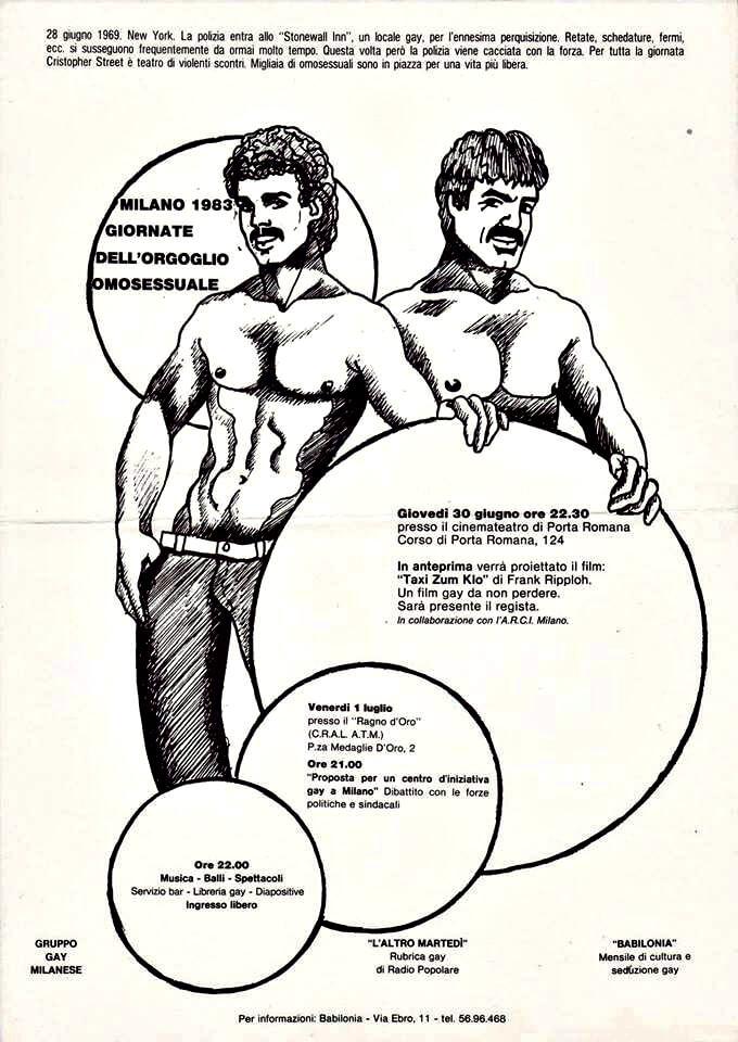 """Volantino con il programma delle attività correlate alle """"Giornate dell'orgoglio omosessuale"""", Milano, 1983. Gli organizzatori erano il Gruppo gay milanese (precursore del Centro d'iniziativa gay), la trasmissione radiofonica L'altro martedì, e la rivista """"Babilonia""""."""
