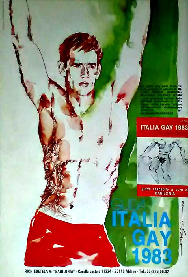 """Sul numero 4 del 1983 di """"Babilonia"""" si pubblicizza la """"Guida Italia gay"""". Il disegno è di Graziano Origa."""