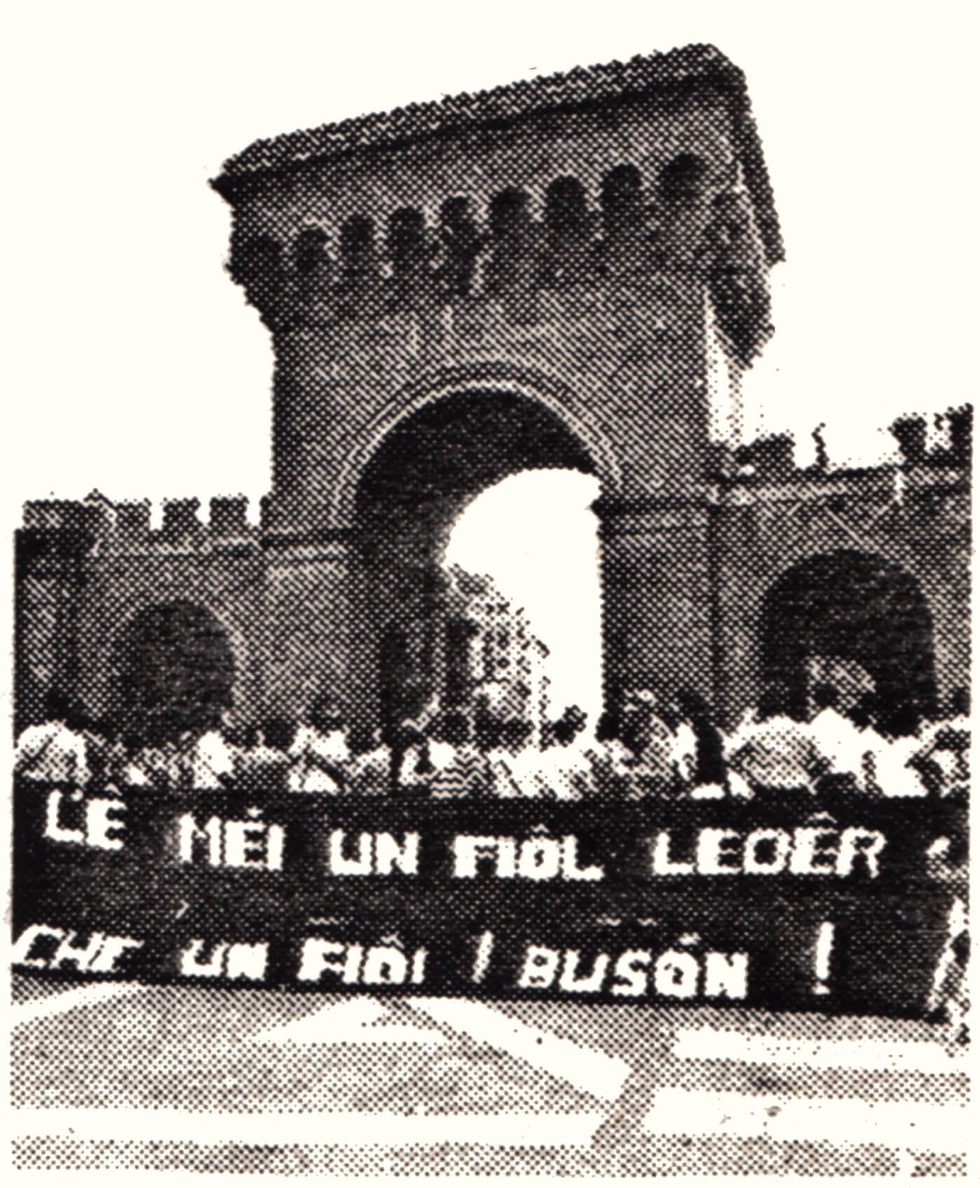 """""""L'è mei un fiol leder che un fiol buson"""", in bolognese; """"È meglio un figlio ladro che un figlio busone"""" (gay). Così recitava un ironico striscione nel corso di una manifestazione per la conquista del Cassero di Bologna."""
