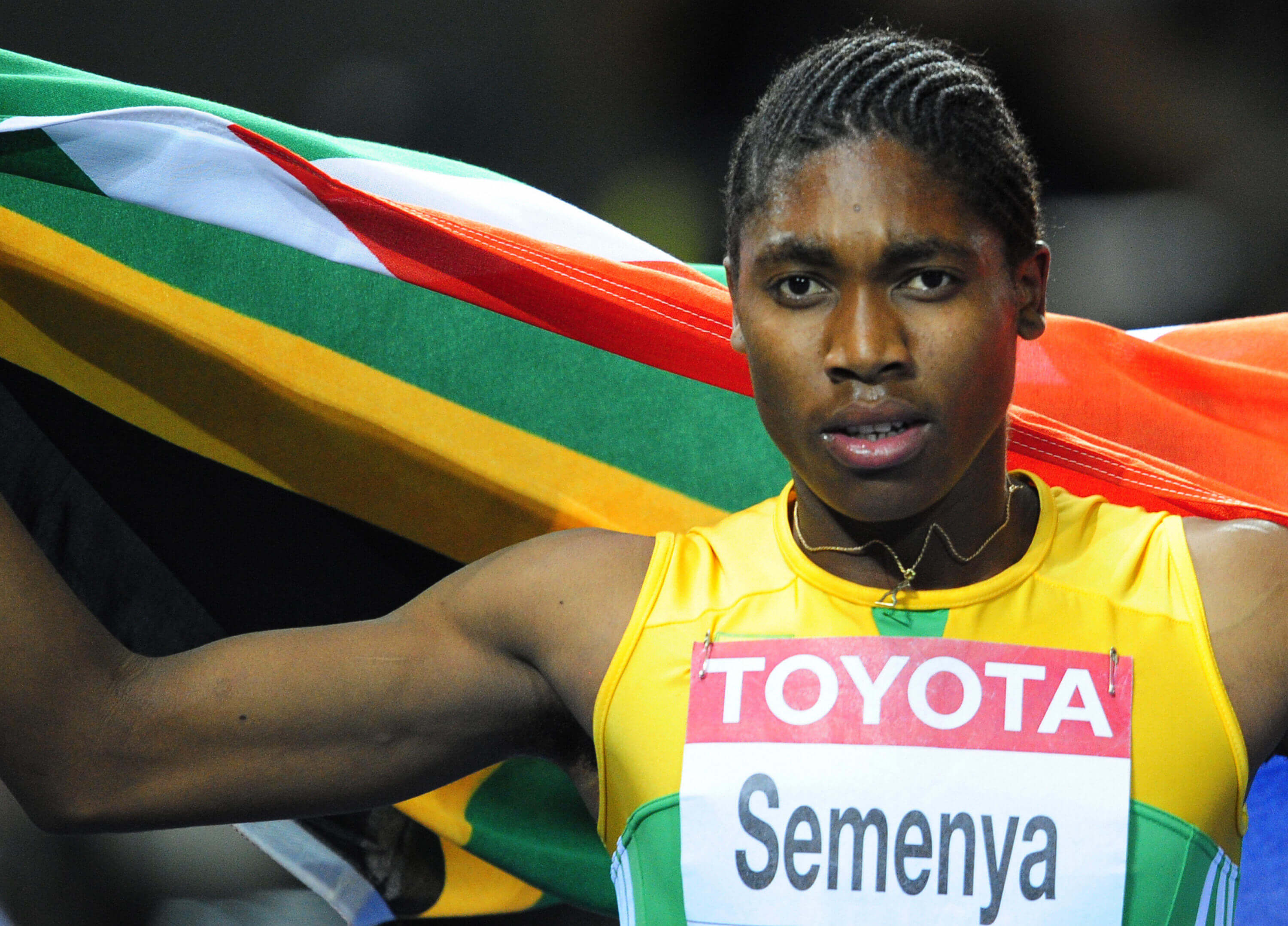 South Africa's Caster Semenya celebrates winning the women's 800m final race of the 2009 IAAF Athletics World Championships on August 19, 2009 in Berlin. AFP PHOTO / FRANCK FIFE (Photo credit should read FRANCK FIFE/AFP/Getty Images)