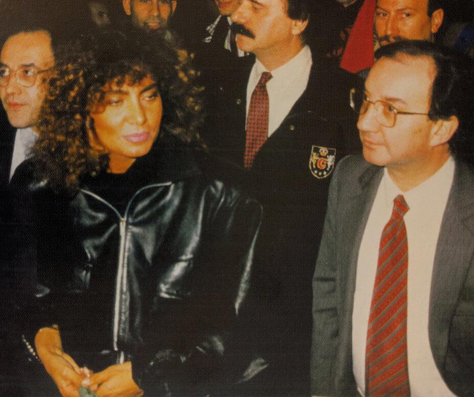 Loredana Berté con il sindaco Carlo Tognoli nel corso del Gala.