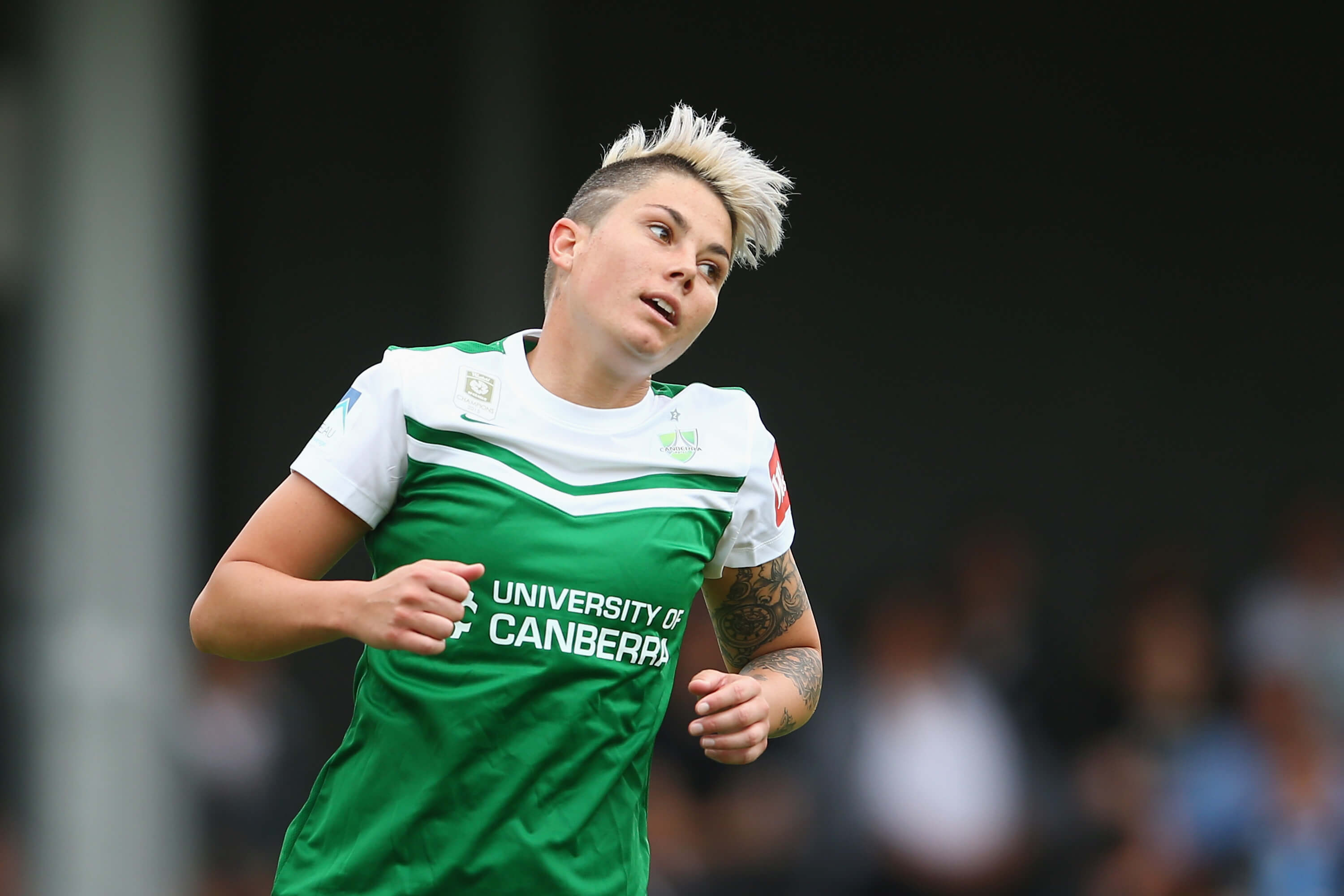 SYDNEY, AUSTRALIA - NOVEMBER 22: Michelle Heyman of United reacts after a missed chance on goal during the round six W-League match between Sydney FC and Canberra United at Lambert Park on November 22, 2015 in Sydney, Australia. (Photo by Mark Kolbe/Getty Images)