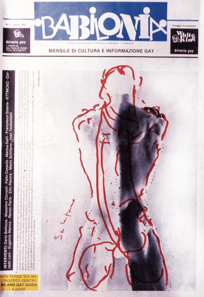 """Copertina del n. 0 di """"Babilonia"""", disegno di Mario Schifano, foto di Robert Mapplethorpe, disegno di Mario Schifano."""