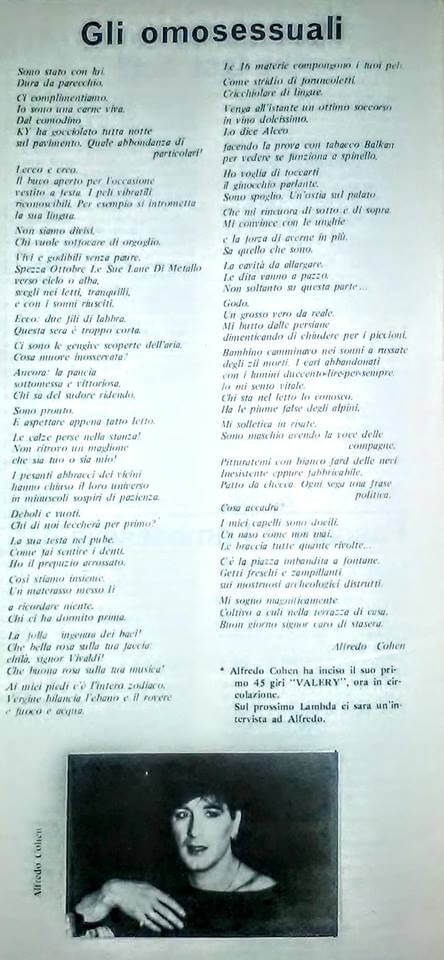 "Alfredo Cohen - "" Gli omosessuali"", da ""Lambda"", n. 22, estate 1979."