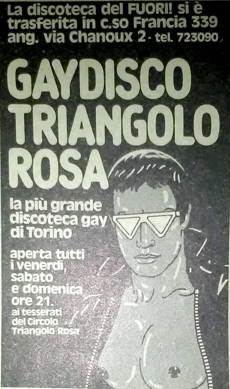 """Inserzione pubblicitaria della discoteca gay Triangolo Rosa, gestita dal Fuori! di Torino. Da """"Lambda"""", n. 10, marzo 1982."""
