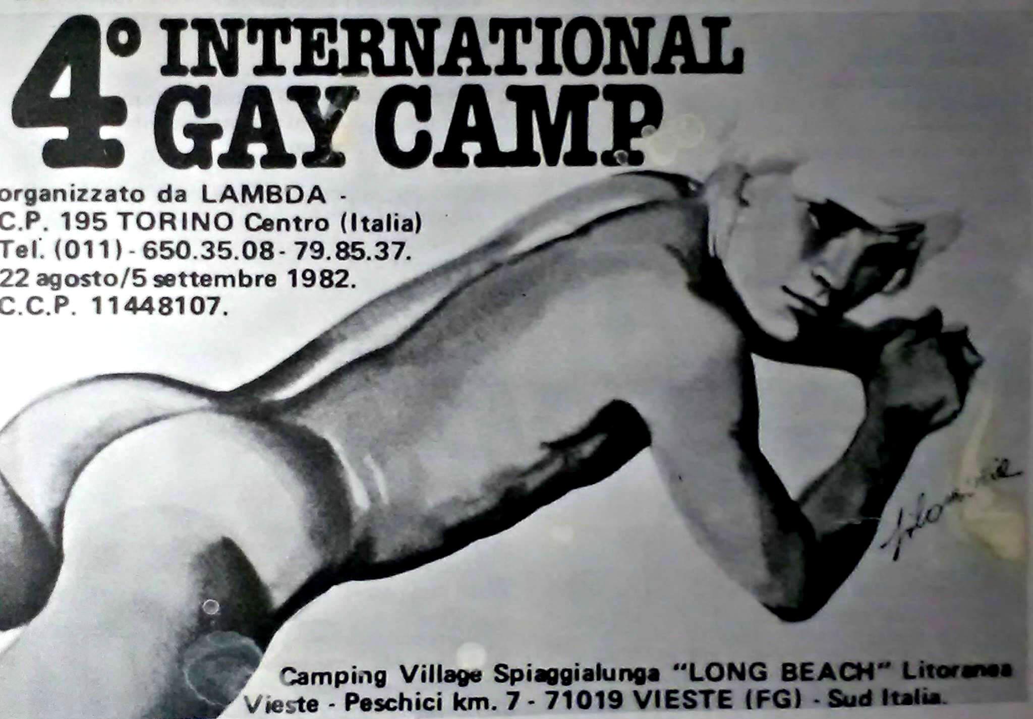 """Pubblicità del quarto International gay camp, svoltosi nell'estate del 1982 a Vieste, in Puglia. Durante questo campeggio venne presentato il numero zero della rivista """"Babilonia""""."""