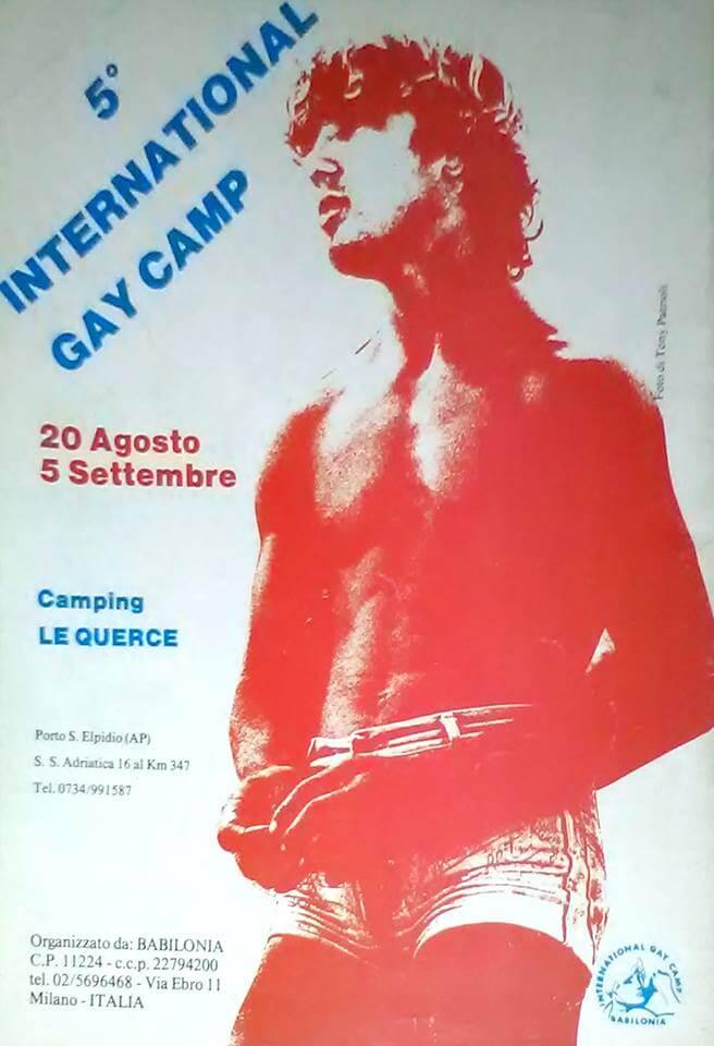 """Pubblicità su """"Babilonia"""" per il quinto International gay camp, svoltosi nell'estate del 1983 a Porto Sant'Elpidio."""