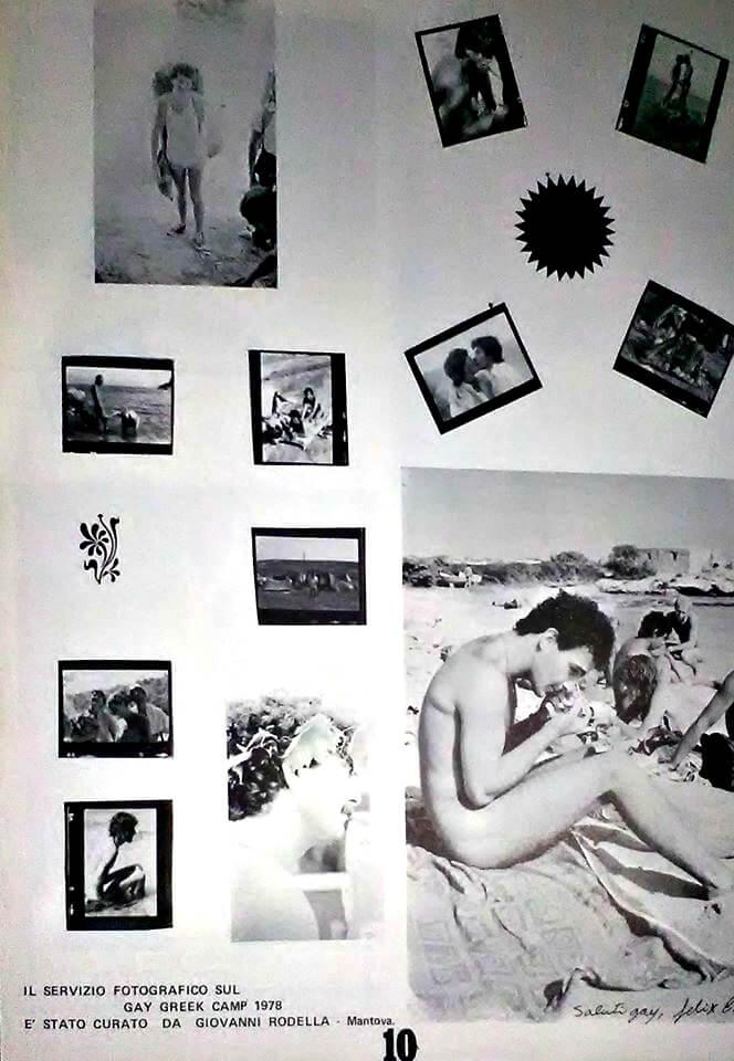"""Servizio fotografico di Giovanni Rodella dedicato al Gay greek camp, con Felix Cossolo immortalato in uno scatto. Da """"Lambda"""", numero 16-17, 1978."""