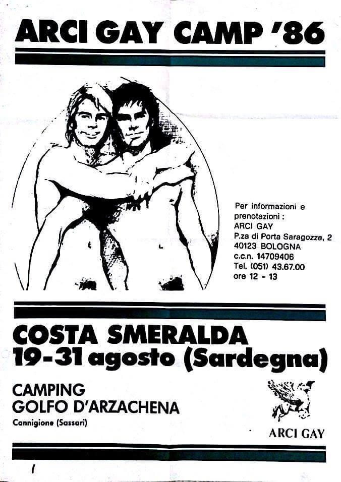 Poster del campeggio gay tenutosi dal 19 al 31 agosto in Costa Smeralda, Sardegna. Come si può vedere, l'organizzazione è ormai passata ad Arcigay.