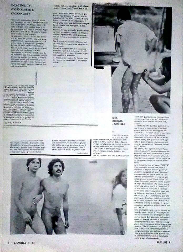 """Nichi Vendola e Terzo Molari durante il primo International gay camp a Isola di Capo Rizzuto, da """"Lambda"""", numero 23, settembre-ottobre 1979."""