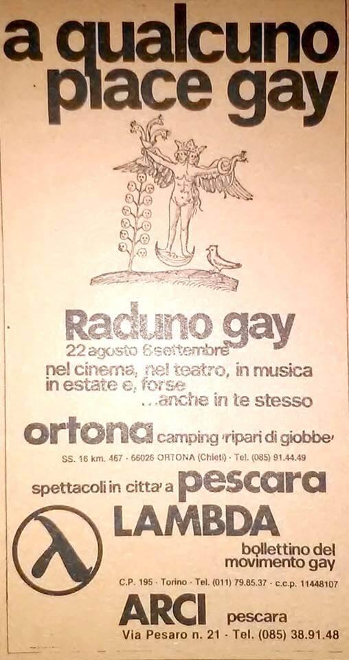 """Pubblicità della rassegna """"A qualcuno piace gay"""", svoltasi durante l'International gay camp di Ortona, nel 1981."""