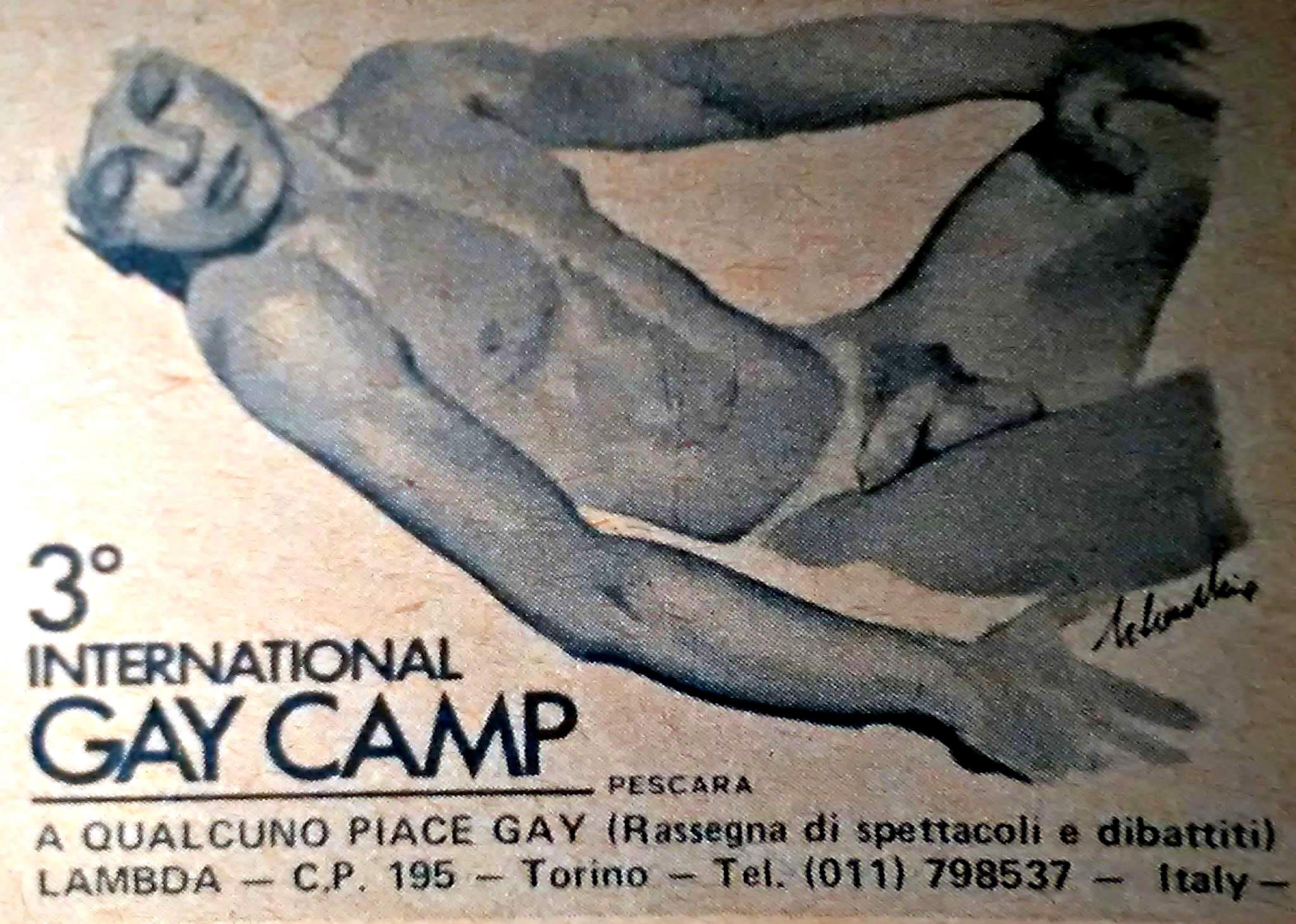 Pubblicità dell'International gay camp di Ortona, 1981.
