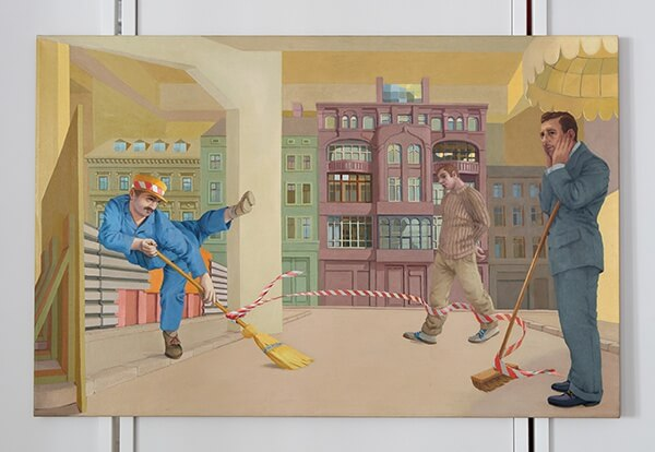 Lukas Duwenhogger, Choreography for 3 Men, 2 Brooms and Caution tape, 1994