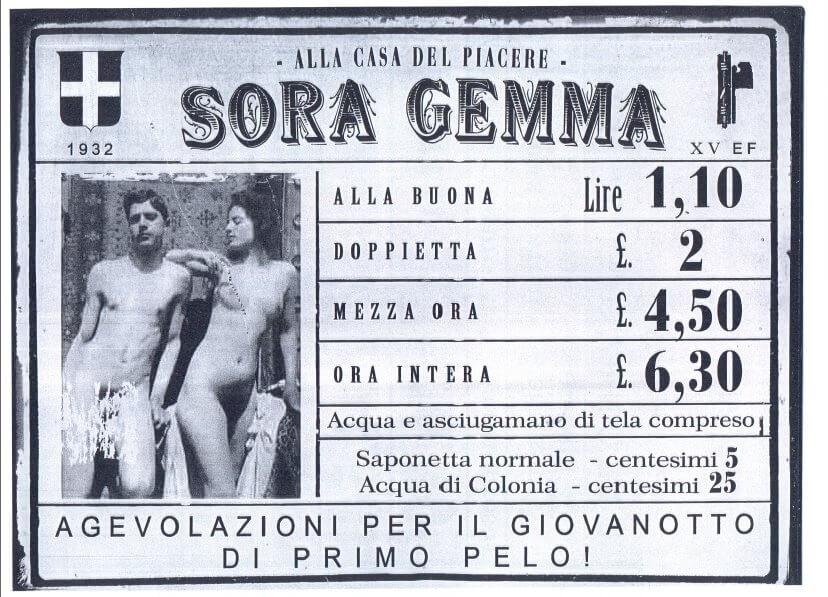 Il tariffario di una casa chiusa italiana, nel 1932.