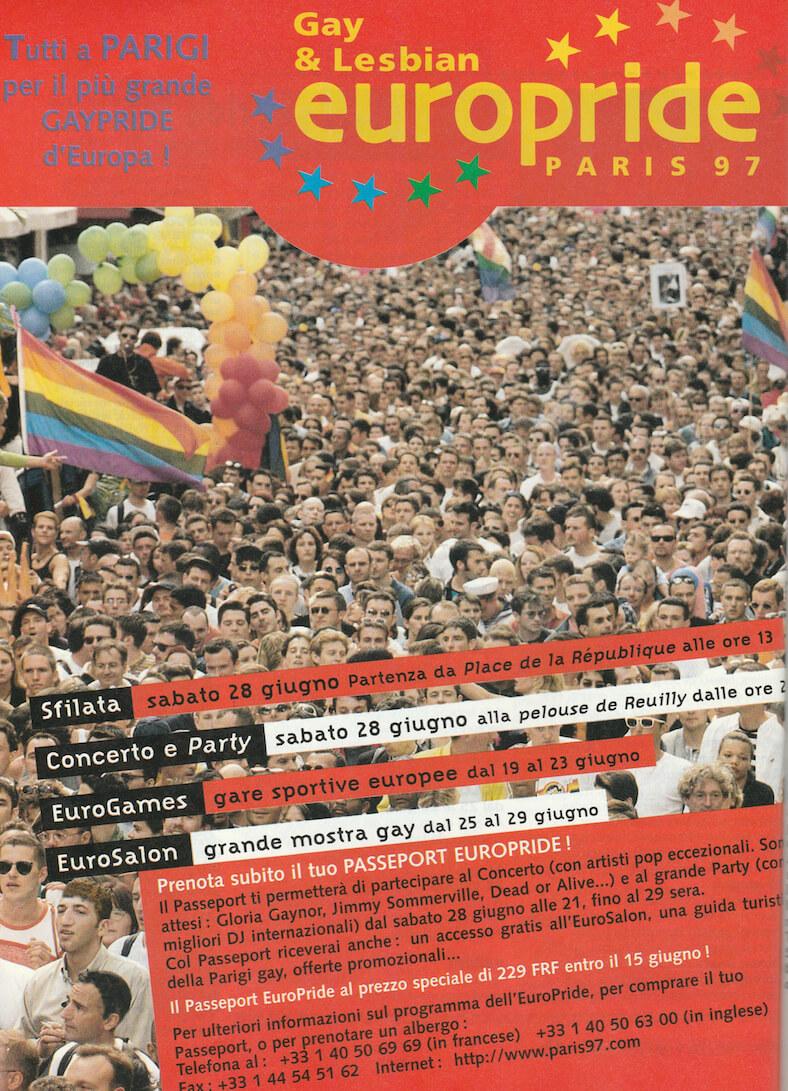 """Programma, pubblicato sulla rivista """"Babilonia"""", dell'Europride di Parigi del 1997."""