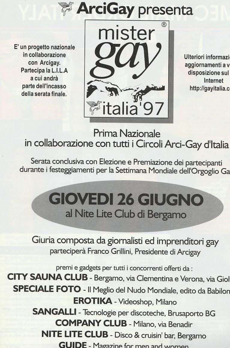 Programma della prima edizione di Mister Gay Italia, tenutasi al Nite Lite Club di Bergamo il 26 giugno 1997.