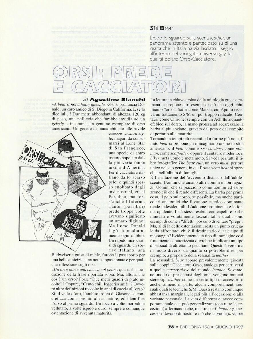 """Un articolo di Agostino Bianchi, su """"Babilonia"""" del giugno 1997, parla della scena """"bear""""."""