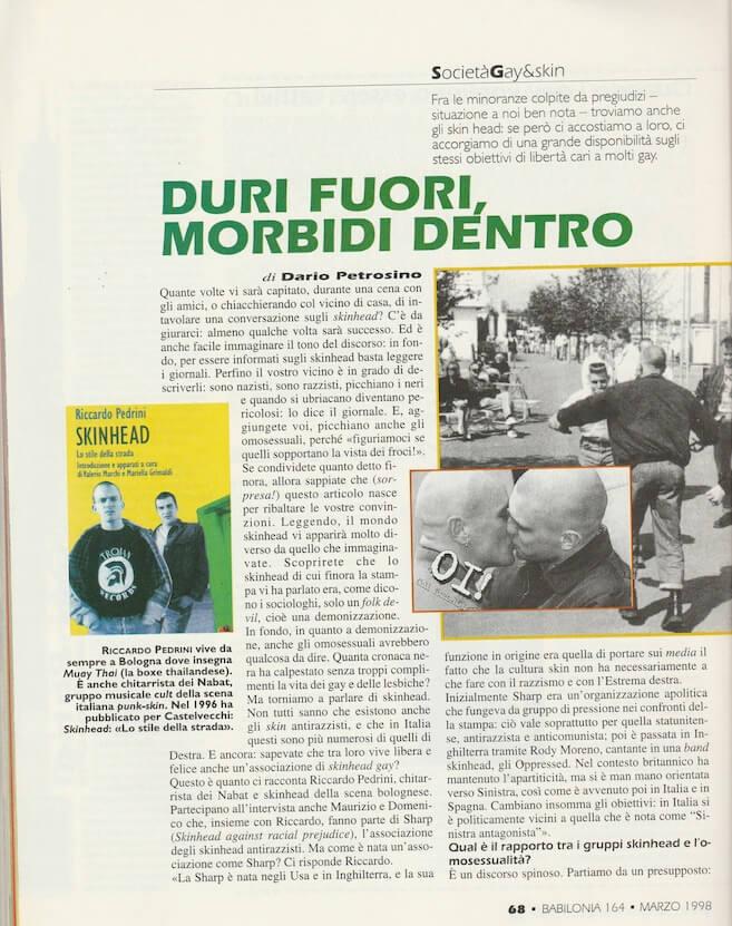 """Un articolo di Dario Petrosino, da """"Babilonia"""" del marzo 1998, che analizza i rapporti tra gruppi di skinhead e omosessualità."""