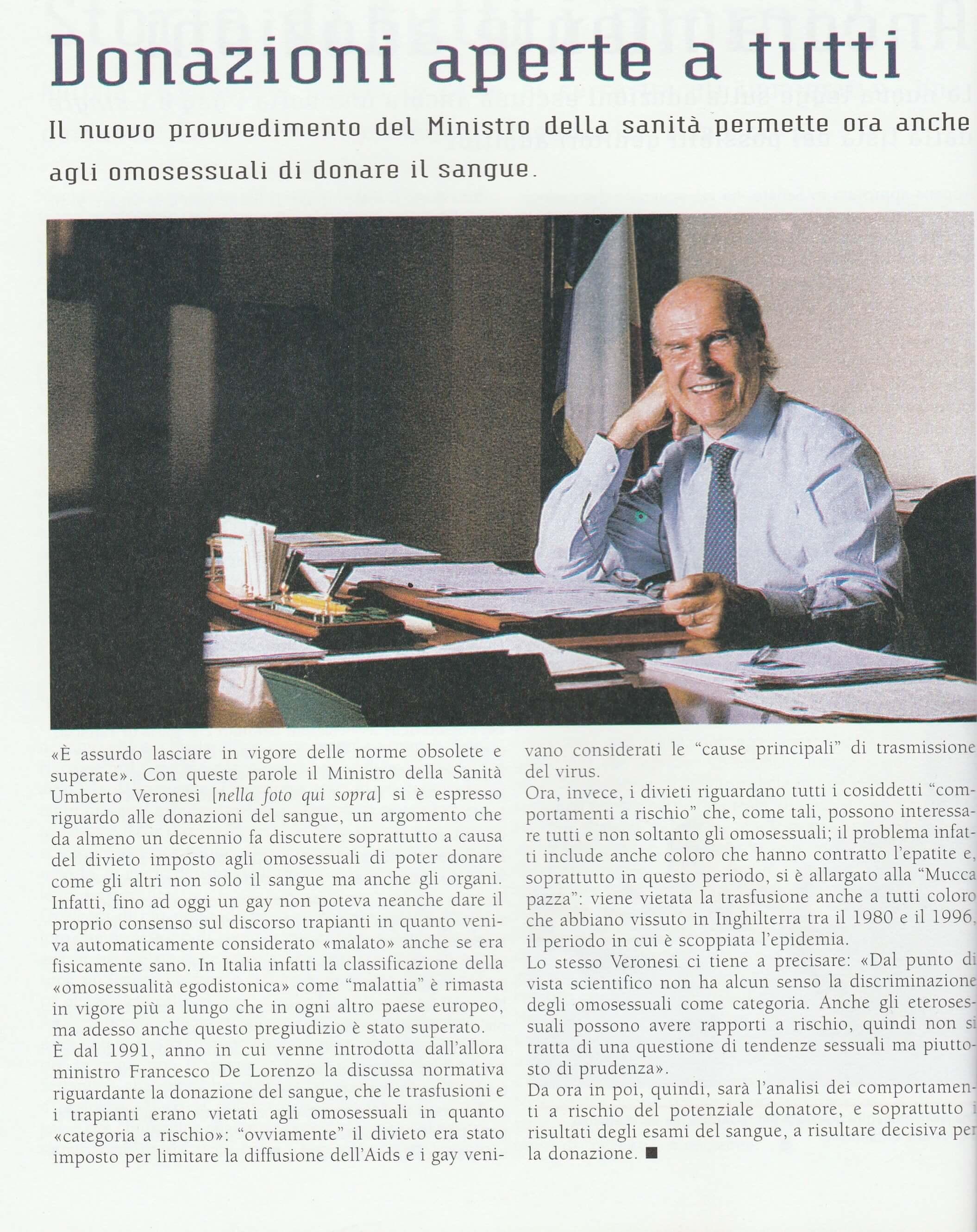 """Nel 2001 un provvedimento dell'allora Ministro della Sanità Umberto Veronesi permise anche agli omosessuali di donare il sangue. Articolo da """"Babilonia"""" del gennaio 2001."""