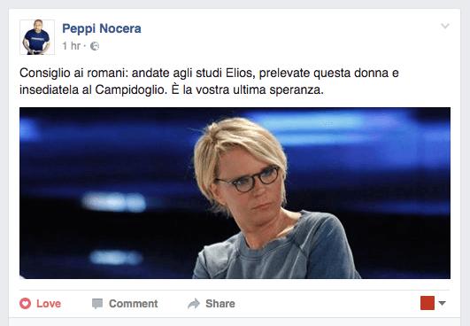 Sulla sua pagina facebook Peppi Nocera consiglia ai romani di fare sindaca Maria De Filippi