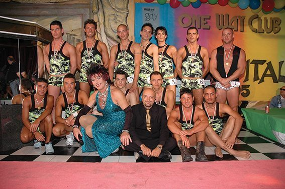 I candidati al concorso Mr Gay alla discoteca One Way di Sesto S. Giovanni.
