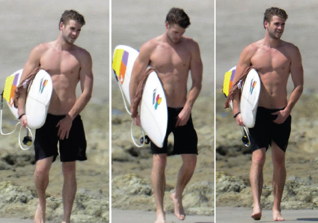 Liam Hemsworth in spiaggia