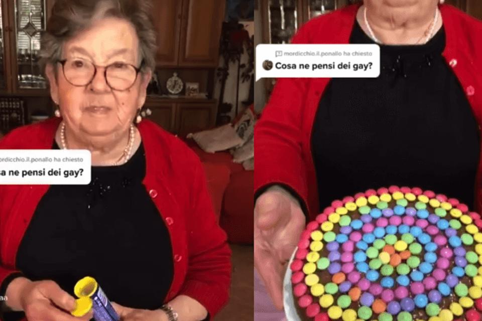 """Nonna Lella virale su TikTok con la sua torta rainbow: """"Viva l'amore in ogni suo colore"""" - VIDEO (Nonna torta gay 1)"""