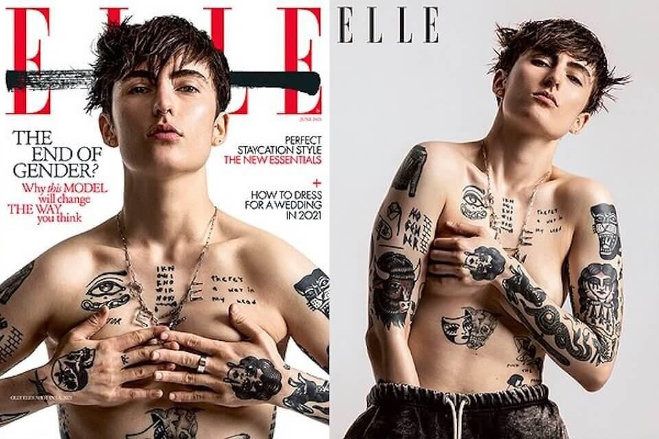 Olly Eley prima persona agender di sempre sulla copertina di Elle UK (Olly Eley)